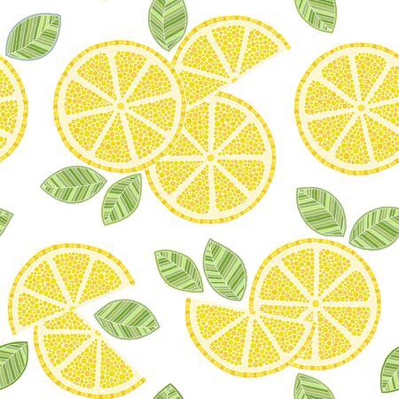 Seamless lemon pattern. Hand drawn doodle citrus mix, lemons slises and green leaves. Decorative illustration, good for printing Ilustracja