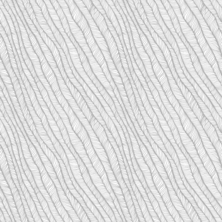 Gray vector seamless abstract hand-drawn pattern. Wave Hand drawn seamless  background.