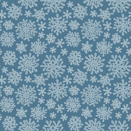 Seamless vector doodle pattern with detailed snowflakes. Nice vector background, perfect for wallpaper, wrapping paper or textile. 向量圖像