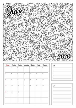2020 Antistress calendar, doodle illustration. Coloring Book. Printable.  Illustration