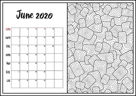 2020 Antistress calendar, doodle illustration. Geometric,  abstract pattern. Coloring Book. Can be used for postcard, gift card, banner, poster and printable.