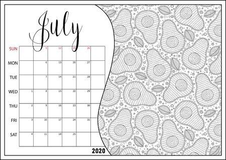2020 Antistress calendar, doodle illustration.