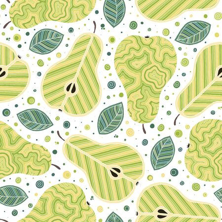 Frash pears modern beauty doodle seamless pattern. Hand drawn overlapping backdrop. Vector cartoon illustration design. Can be used for wallpaper, pattern fills, web page background, surface textures