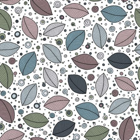 Hand drawn leaves. Seamless pattern. Doodle stylized image. Sketch style. Autumn leaf fall background.  Çizim