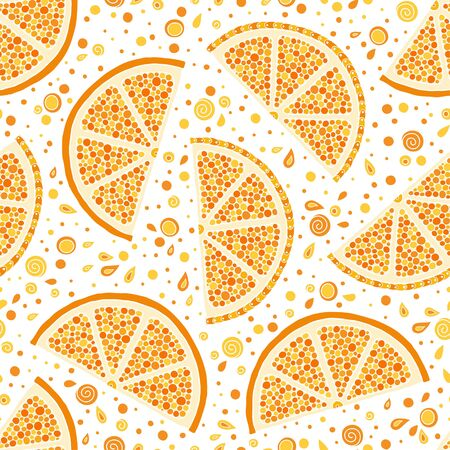Oranges slices on a white background seamless pattern. Hand drawn illustration in doodle style for summer cover, citrus tropical wallpaper, vintage texture.