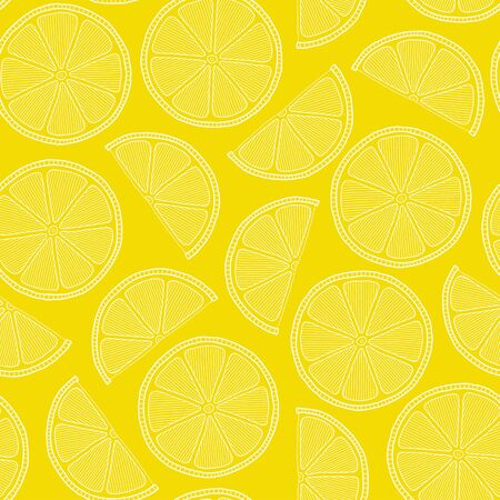 Fresh lemons background, hand drawn, on a yellow background . Doodle wallpaper. Colorful seamless pattern with fresh fruits collection. Decorative illustration, good for printing  Çizim