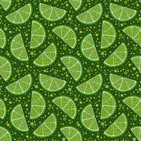 Lime seamless pattern. Colorful sketch limes. Citrus fruit on a green background. Elements for menu, greeting cards, wrapping paper, cosmetics packaging, posters etc