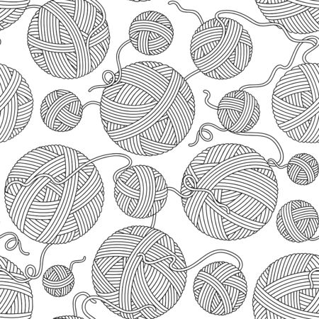 Seamless pattern for coloring book. Hand-drawn decorative elements in vector. Black and white. Vector illustration outline drawing yarn balls