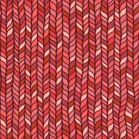 Seamless red pattern of braids, endless texture, stylized sweater fabric. Texture for web, print, wallpaper, fall winter fashion, textile design, website background, holiday home decor