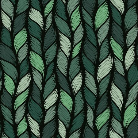 Green realistic simple knit texture vector seamless pattern. Abstract ornamental background in form of a knitted fabric. Stylized textured yarn or hairstyle close-up Ilustração