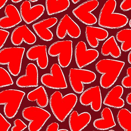 Red hearts seamless pattern. Valentine's day  illustration. Hand drawn background. Template illustrated for design card, gift paper, textile. 일러스트