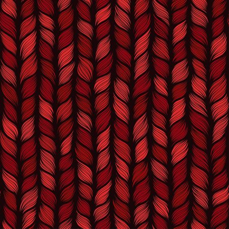 Red seamless pattern with interweaving of braids. Abstract ornamental background in form of a knitted fabric. Stylized textured yarn or hairstyle close-up Imagens - 147749096