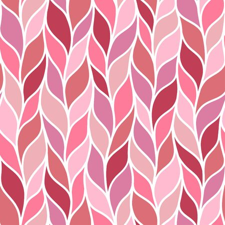 Pink knitted hand drawn seamless pattern. Pen freehand crankles line art. Irregular zigzag and vertical lines hand drawn texture. Pink fabric, textile, wrapping paper, wallpaper minimalistic design. 矢量图像