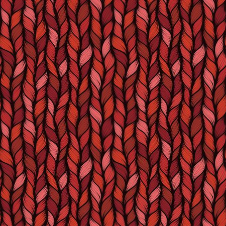 Red seamless pattern with interweaving of braids. Abstract ornamental background in form of a knitted fabric. Stylized textured yarn or hairstyle close-up