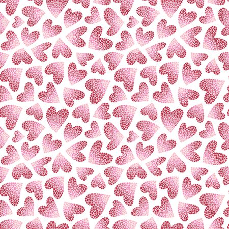 Pink hearts on a white background. Seamless pattern. Ready template for design, postcards, print, poster, party, Valentine's day, vintage textile.