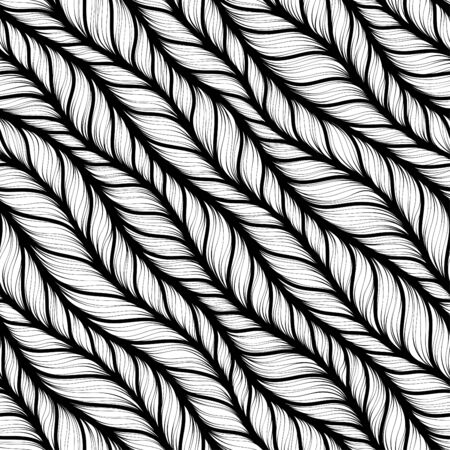 Seamless pattern for coloring book for adult. Abstract monochrome hand drawn abstract seamless pattern with wavy lines knitted warm Ilustração