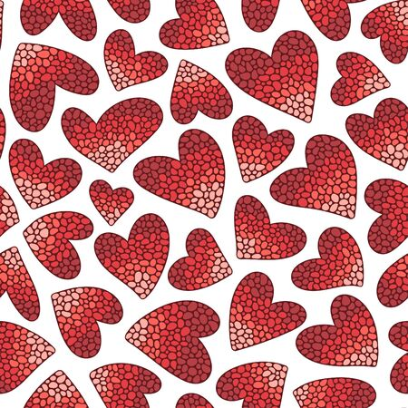 Red hearts on a white background. Seamless pattern. Ready template for design, postcards, print, poster, party, Valentine's day, vintage textile.
