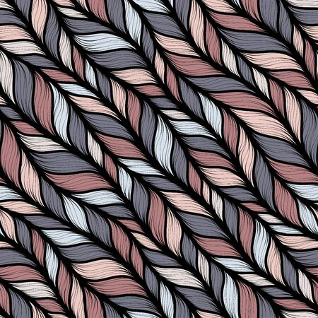 Brown heather marl tweed knit texture background. Blanket stitch seamless  pattern. Homespun faux woolen fabric structure textile. Yarn melange all over print. Ilustração