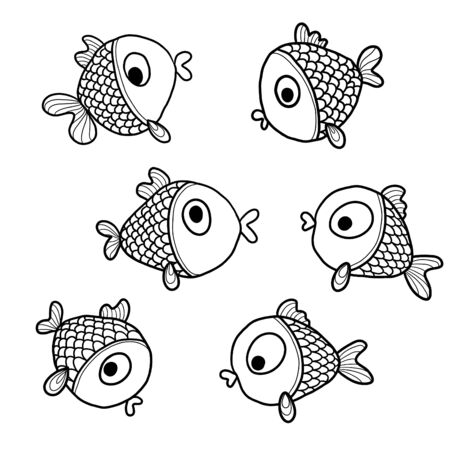 Coloring page of  fish. Freehand sketch drawing for adult antistress coloring book