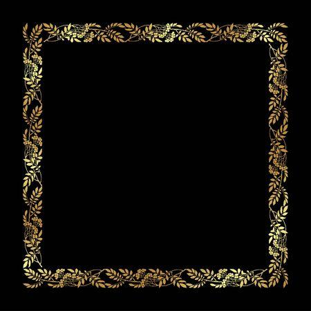 Hand-drawn flower art deco frame for page, invitation, gift card design. Elegant art deco collection on black background. Vector illustration EPS 10