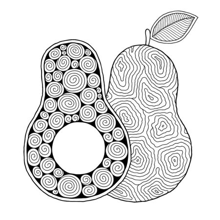 Line art avocado drawing for printing on stuffs and adult coloring book or coloring page. Ilustración de vector