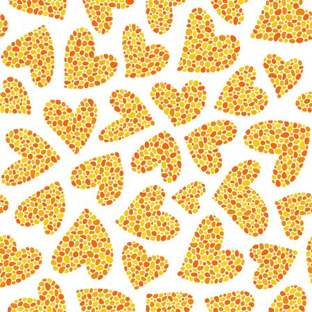 Yellow hearts on a white background. Seamless pattern. Ready template for design, postcards, print, poster, party, Valentine's day, vintage textile.