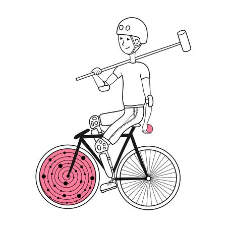 Polo bike player with bat and ball.. Can be used as a print on a t-shirt, coloring page for adults.