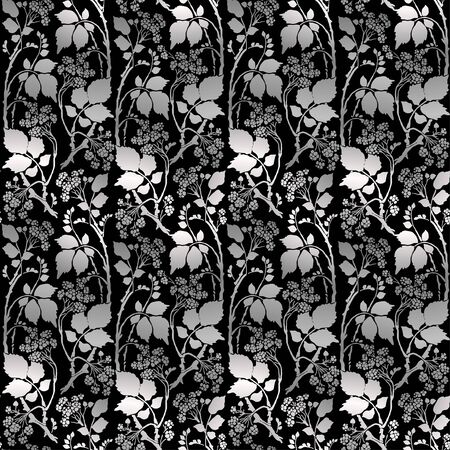 Seamless Silver Art Deco vintage pattern with sprigs and berries