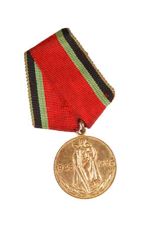 Jubilee Medal 20 Years of Victory in Great Patriotic War. isolated on white. illustrative editorial.