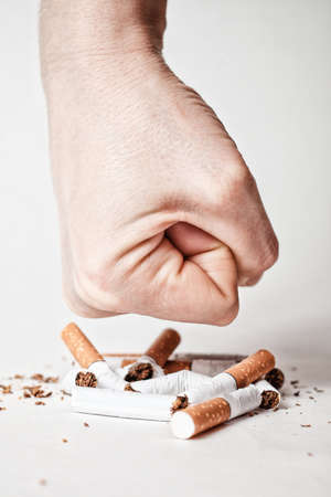 male hand destroying cigarettes - stop smoking concept - world no tobacco day Imagens