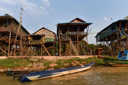 Siem Reap, Cambodia - 17 01 2019 - Tonle Sap lake, the floating village.