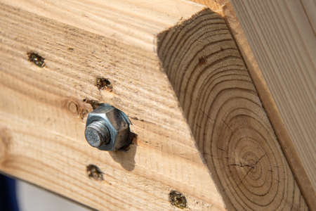 New shiny bolt with nut in wood board. Stock Photo