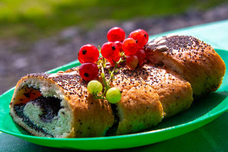 Homemade poppy seed cakes decorated with red currants. Stockfoto