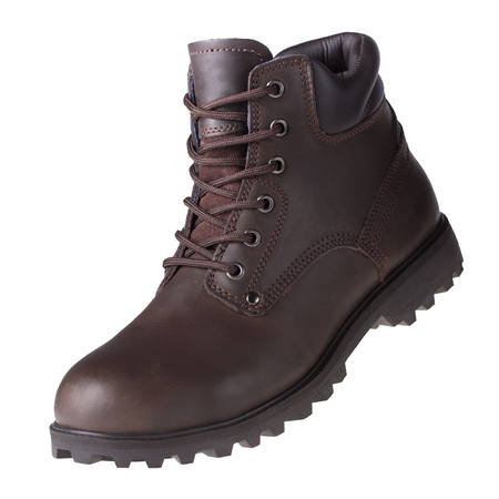 Brown mens shoe isolated. Winter autumn spring leather workers boot.