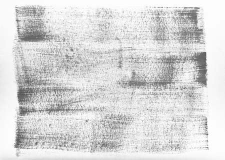 Traces of brushes on paper. Texture on white background. Tissue print on paper. Fabric pattern. Black grey gray color