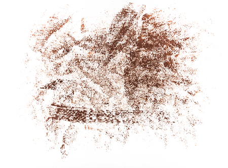 Traces of brushes on paper. Texture on white background. Tissue print on paper. Fabric pattern. Red color.