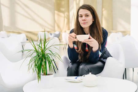 Young attractive woman with a cup of tea in a cafe. A kettle and a saucer on the table. Bright modern interior. A potted plant in a pot on the table. Natural unconventional beauty. Looks straight, at the camera
