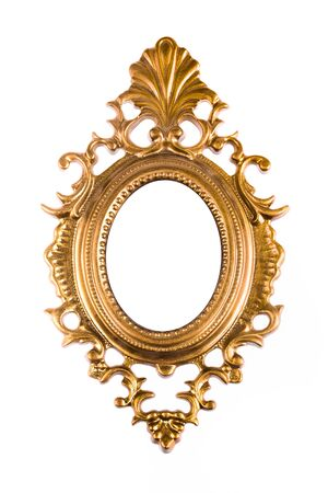 Vintage golden oval picture frame. Isolated on white background