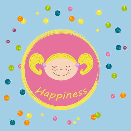 Little happy girl front face in round frame with colourful candies on blue background