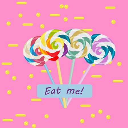 eat me: Colorful swirl lollipops on pink background with yellow elements and eat me text.