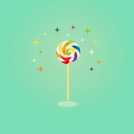 Colorful swirl lollipop on isolated green background with orange, bluem yellow and green stars