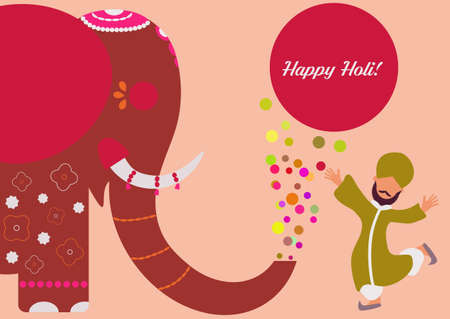 Colourful composition witn ornamental elephant and happy indian man in traditional red clothes Illustration