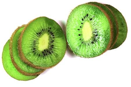 kiwi fruit cut on segments on a white background