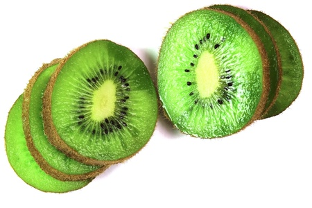 kiwi fruit cut on segments on a white background