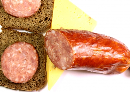 sausage and cheese sandwiches of rye bread