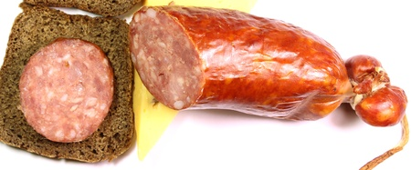 abstractly: sausage and cheese sandwiches of rye bread