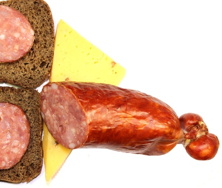 sausage and cheese sandwiches of rye bread Stock Photo - 17054744