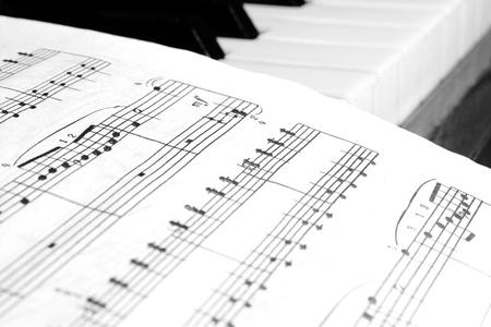 notes on piano keys Stock Photo