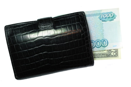 black a purse from one thousand rubles and two dollars