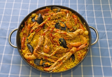paella valenciana, typical food of spain, based on rice and seafood.